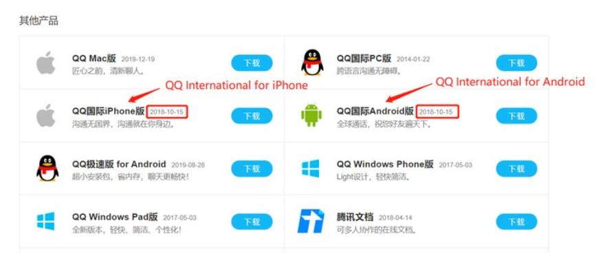 Biểu tượng QQ International của Iphone và android