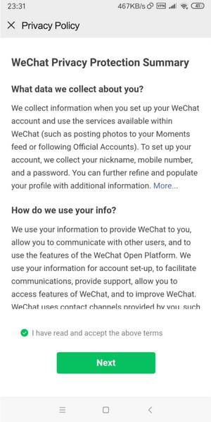 Chấp nhận các chính sách của Wechat