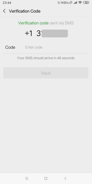 Nhập mã xác nhạn Wechat gửi vào số điên thoại của bạn