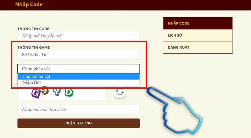 Chọn máy chủ để nhập code