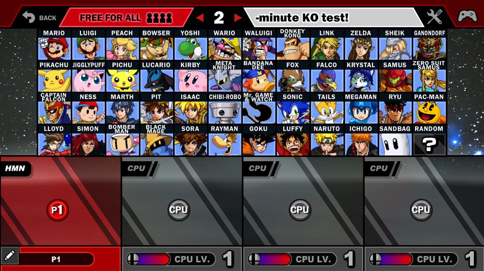 Giao diện chọn nhân vật Game Super Smash Flash 2